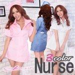 【3color】ナースコスプレ*看護服 サックスブルー