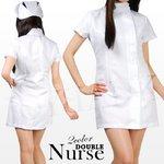 白衣の天使☆ナース服ダブルタイプ【看護服/ワンピース】 ホワイトMサイズ