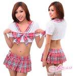 【学生服】大きいリボン付赤チェックスカートの女子制服コスプレ