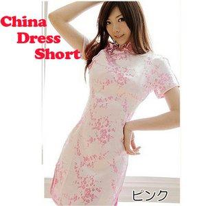 【チャイナドレス 梅柄刺繍 ショートタイプ】本格コスプレに!!/ピンクMサイズ
