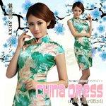 刺繍 ショート チャイナドレス コスプレ/グリーン