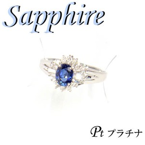 Pt900 プラチナ リング サファイア & ダイヤモンド 9月誕生石/17号