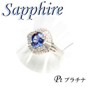 Pt900 プラチナ リング サファイア & ダイヤモンド 9月誕生石/13号