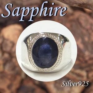 Silver925 シルバー リング サファイア 9月誕生石/27号