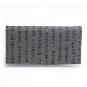 EMPORIO ARMANI(エンポリオアルマーニ) ロゴ織り メンズ ファスナー小銭入れ付 二つ折り長財布 YEM474 YCF04 86156