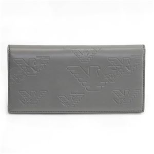 EMPORIO ARMANI(エンポリオアルマーニ) イーグル型押し メンズ ファスナー小銭入れ付 二つ折り長財布 YEM474 YH187 80123