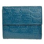 FOLLI FOLLIE(フォリフォリ) ロゴマニア ロゴ型押し 小銭入れ・パスケース付 三つ折財布 アクアブルー WA0L027SQ AQU
