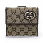 Gucci(グッチ) オリジナルGG ハートシェイプディティール Wホック 二つ折り財布 ベージュ×ブラウン 245727 FAFXG 9643