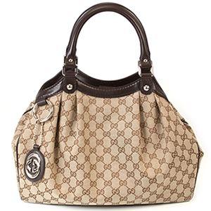 Gucci(グッチ) スーキー GGキャンバス ハンドバッグ トートバッグ ベージュ/ダークブラウン 211944 FAFXG 9643