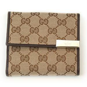 Gucci(グッチ) GGキャンバス Wホック二つ折り財布 ベージュ・ダークブラウン 257015 FAFXG 9643