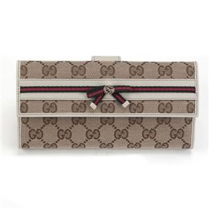 Gucci(グッチ) オリジナルGG リボンウェブ Wホック 二つ折り長財布 ベージュ/アイボリー ≪2013AW≫ 256933 FFKPG 8420