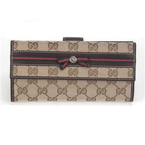 Gucci(グッチ) オリジナルGG リボンウェブ Wホック 二つ折り長財布 ベージュ/ダークブラウン ≪2013AW≫ 256933 FFKPG 9791