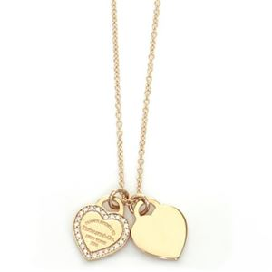 Tiffany(ティファニー) RTT ミニ 2ハート ダイヤモンド ネックレス ペンダント 16in 18KRG 28751257