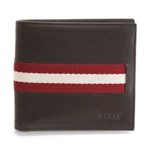 Bally(バリー)TYE 271 CHOCOLATE 小銭入れ付 二つ折り財布 型押しカーフ