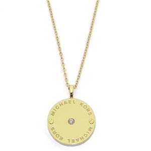 MICHAEL KORS(マイケルコース) Gold-Tone Logo Disc Pendant Necklace クリスタルストーン ロゴディスク ネックレス/ペンダント MKJ2654710