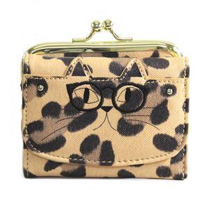 anello(アネロ) ZU-M0202-LEO おすましメガネ猫 ジョセフィーヌ がま口小銭入れ付 三つ折り財布
