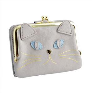 anello(アネロ) ZU-M0422-LGY 猫フェイス がま口小銭入れ付 二つ折り財布  ジョセフィーヌ シリーズ