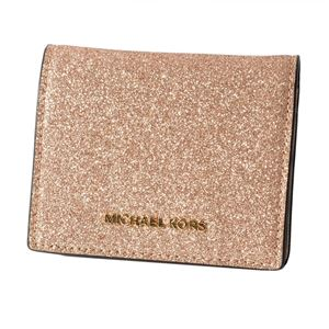 MICHAEL KORS (マイケルコース) 32F7GF6F5O ROSE GOLD グリッターラメ パスケース付 二つ折り財布 (小銭入れ無し)