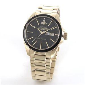 Vivienne Westwood (ヴィヴィアンウエストウッド) ミステリアスな模様のブラックダイヤル スタイリッシュなゴールドカラーのブレスウオッチ VV063GD
