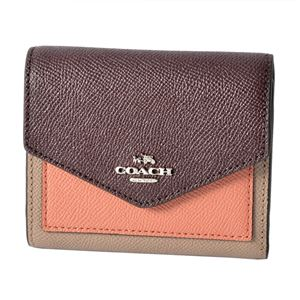 COACH(コーチ) 12123 Sv/Stone/Melon Multi (SVMDG) カラーブロック 三つ折り ミニ財布 SMALL WALLET