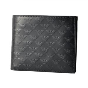 EMPORIO ARMANI(エンポリオアルマーニ) YEM122 YC043 80001 イーグルロゴプリント メンズ 小銭入れ付 二つ折り財布