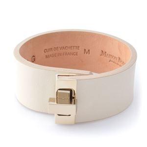 Maison Boinet(メゾンボワネ) 95093G-79-01-M Beige ヒネリ金具 レザー ブレスレット バングル 25mm
