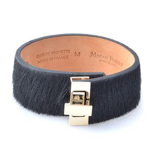 Maison Boinet(メゾンボワネ) 95133G-146-04-M Black ヒネリ金具 ヘアカーフ ハラコ レザー ブレスレット バングル 25mm