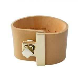 Maison Boinet(メゾンボワネ) 95027G-79-28-S Cinnamon ヒネリ金具 レザー ブレスレット バングル 40mm