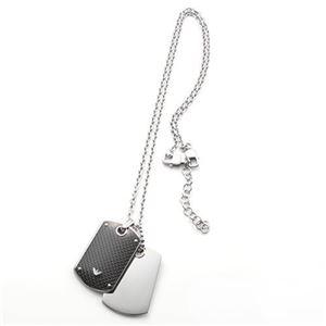 EMPORIO ARMANI(エンポリオアルマーニ) アクセサリー ダブルタグ ネックレス ペンダント シルバー×ブラック EGS1601040
