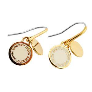 MARC JACOBS (マークジェイコブス) M0008541-106 Cream Enamel Logo Disc Earrings ロゴ ディスク エナメル ピアス
