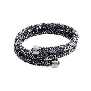 SWAROVSKI(スワロフスキー)5255898 Crystaldust Double Gray クリスタルロック スパイラル バングル ブレスレット Sサイズ