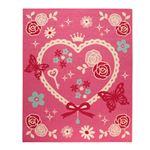 デスクカーペット 女の子 エハート柄 『キャリー ツー』 ピンク 110×133cm