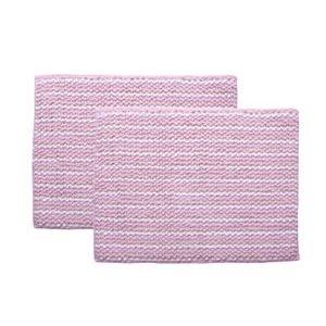 バスマット 洗える 吸水 『スカイ』 ピンク 2枚組 約35×50cm