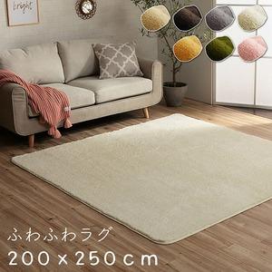 ふわふわ ラグマット 【3畳 約200×250cm オレンジ】 無地 フィラメント糸 ホットカーペット・床暖房対応 『フィリップ』