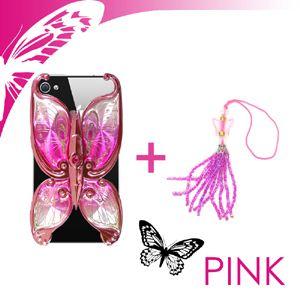 iphone4/4S用ケースエレガンスバタフライ ピンク