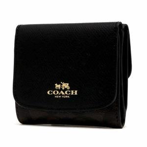 COACH コーチ アウトレット シグネチャー PVC レザー スモール ウォレット / 二つ折り財布