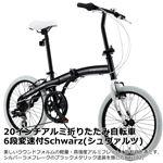 WACHSEN(ヴァクセン) 20インチアルミ折りたたみ自転車 6段変速付 ブラックメタリック×ホワイト Schwarz(シュヴァルツ) (高品質・人気自転車・人気サイクル)
