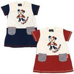 子供服 カラーホワイト&ブルー Tabatha CRAYON 刺繍半袖ワンピース サイズ100cm