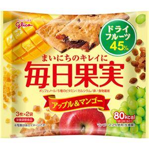 (まとめ買い)グリコ 毎日果実 アップル&マンゴー 6枚入×10個×4セット