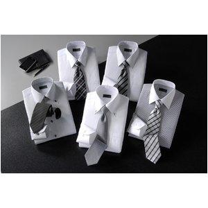 モノトーンタイトフィットワイシャツ&ネクタイ10点セット【LLサイズ】