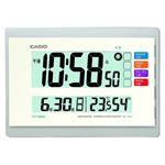 (まとめ) カシオ CASIO 電波デジタル置掛兼用時計 ホワイト IDL-140J-7JF 1台 【×2セット】