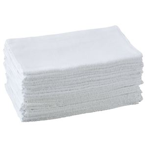 (まとめ) オーミケンシ 業務用タオル 34×85cm ホワイト 1セット(24枚) 【×2セット】