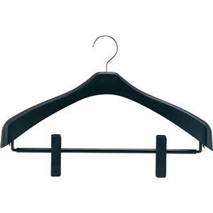 (まとめ) シンコハンガー リバース ジャケットハンガー クリップ付 42cm ブラック RJH-C42 1本 【×10セット】