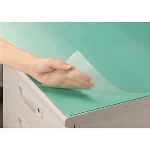 (まとめ) ライオン事務器 デスクマット再生オレフィン製 ノングレア仕上 ダブル(グリーンマット付) 600×450×1.5mm M-PK 1枚 【×5セット】