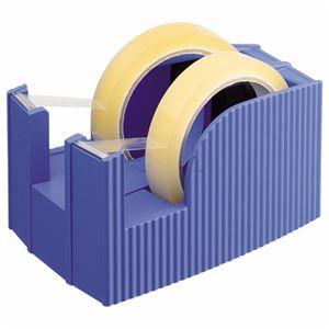 (まとめ) ライオン事務器 テープカッター(フリス)2連 太巻用 112×171×92mm ブルー TC-30 1台 【×5セット】