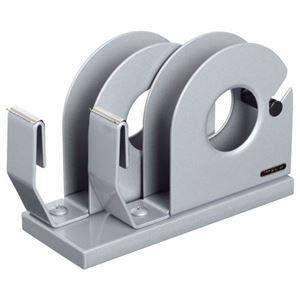 (まとめ) ライオン事務器 テープカッター 2連大巻・小巻両用 65×175×110mm シルバー No.41 1台 【×3セット】