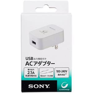 (まとめ)ソニーCP-Fシリーズ専用ACアダプターセット USB出力機能 50cmMicroUSBケーブル付 ホワイト CP-AD21セット【×3セット】
