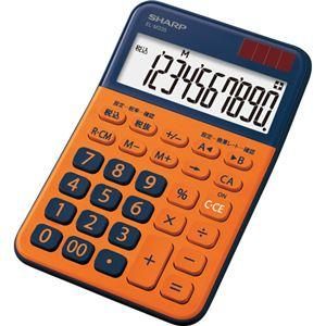 (まとめ)シャープ カラー・デザイン電卓 10桁ミニナイスサイズ オレンジ EL-M335-DX 1台【×5セット】