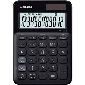 (まとめ)カシオ カラフル電卓 ミニジャストタイプ12桁 ブラック MW-C20C-BK-N 1台【×5セット】