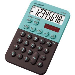 (まとめ)シャープ カラー・デザイン電卓 8桁ミニミニナイスサイズ グリーン系 EL-760R-GX 1台【×5セット】